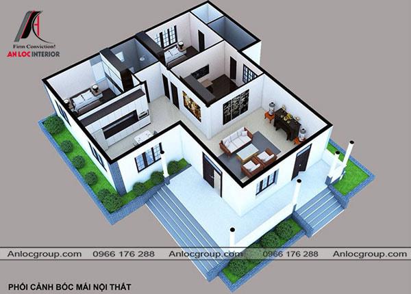 Mẫu 71 - Cách bố trí nội thất nhà ở hình chữ L 3 phòng ngủ