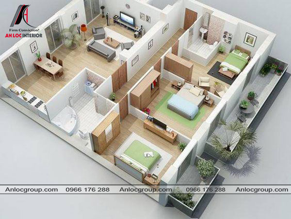 Mẫu 79 - Nội thất nhà cấp 4 được chia thành 2 phần với một hành lang kính nằm chính giữa căn nhà. Một bên là phòng khách, bếp. Bên còn lại là 3 phòng ngủ.