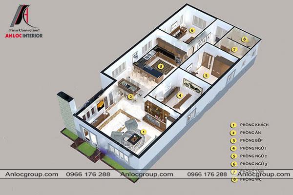 Mẫu 72 - Bố trí nội thất cho nhà cấp 4 dạng ống 3 phòng ngủ