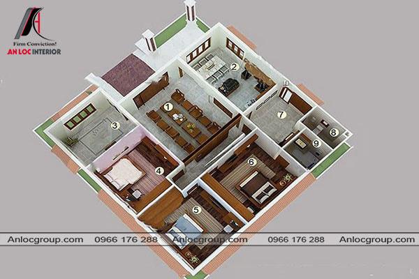 Mẫu 73 - Nếu ngôi nhà của bạn vuông vắn thì có thể bố trí theo mẫu này