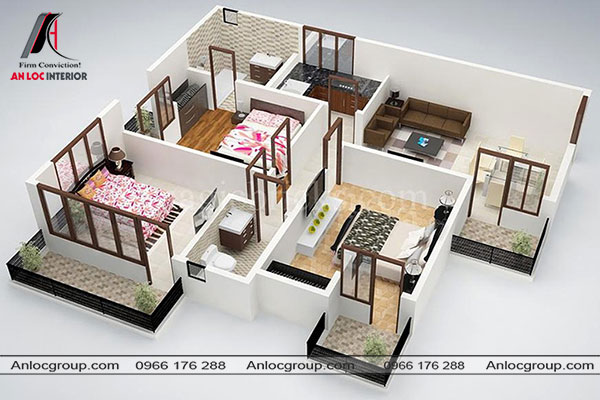Mẫu 76 - Ngôi nhà được thiết kế đơn giản nhưng đầy tiện nghi. Mỗi một phòng ngủ đều có mặt tiếp xúc với thiên nhiên.