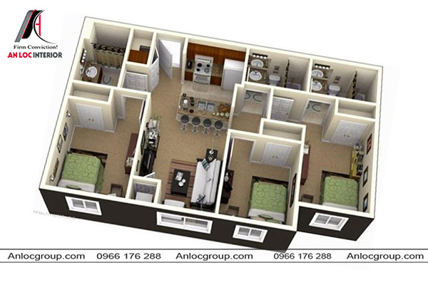 Mẫu 77 - Không gian phòng khách - bếp nằm chính giữa hai bên là 3 phòng ngủ cùng 3 phòng vệ sinh.