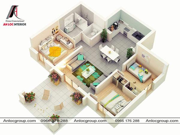 Mẫu 78 - Từ phòng khách nhà cấp 4 có lối thông ra hiên nhà nơi bố trí hai ghế ngồi ngắm cảnh. 3 phòng ngủ được bố trí gọn gàng 2 bên phòng khách.