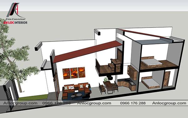 Mẫu 55 - Thiết kế nhà ở có gác lửng 5x20m