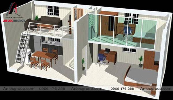 Mẫu 56 - Bố trí nội thất nhà cấp 4 có gác lửng 4x12m