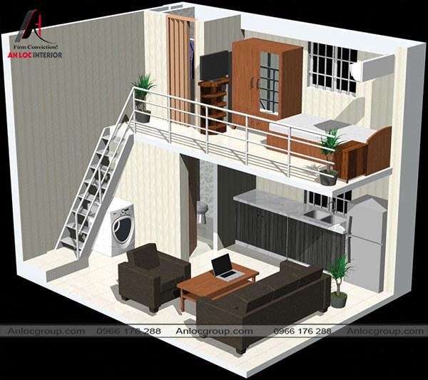 Mẫu 57 - Nhà có gác lửng diện tích nhỏ hẹp