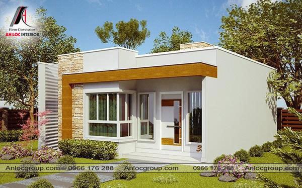 Mẫu 17 - Nhà mái bằng đơn giản với điểm nhấn là góc vuông màu vàng nổi bật trên nền màu trắng