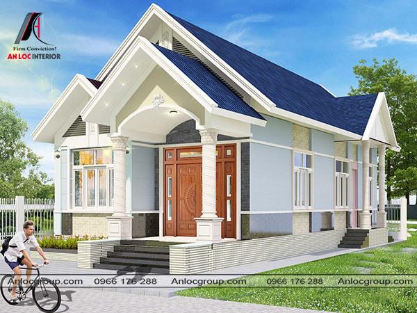 Mẫu 1 - nhà cấp 4 mái thái đẹp phong cách hiện đại