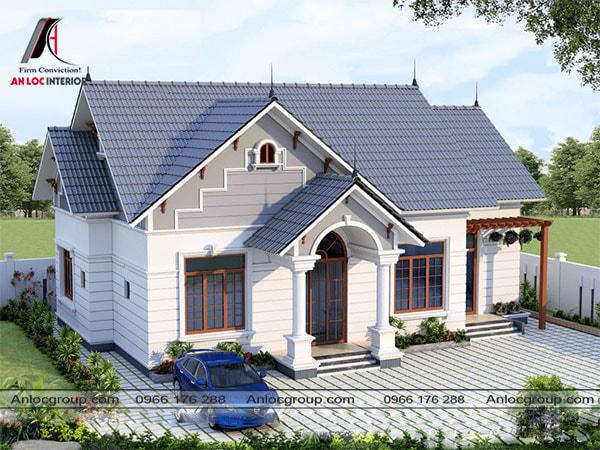 Mẫu 10 - Mái thái giật cấp đẹp kết hợp với nét trang trí tạo nên ngôi nhà với vẻ ngoài độc đáo