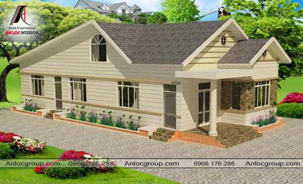 Mẫu 45 - Nhà ở nông thôn với sân vườn rộng rãi