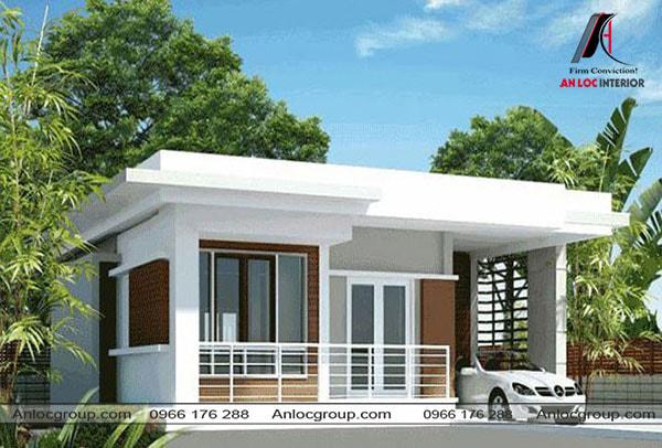 Mẫu 48 - Nhà mái bằng ở nông thôn có nhà để xe