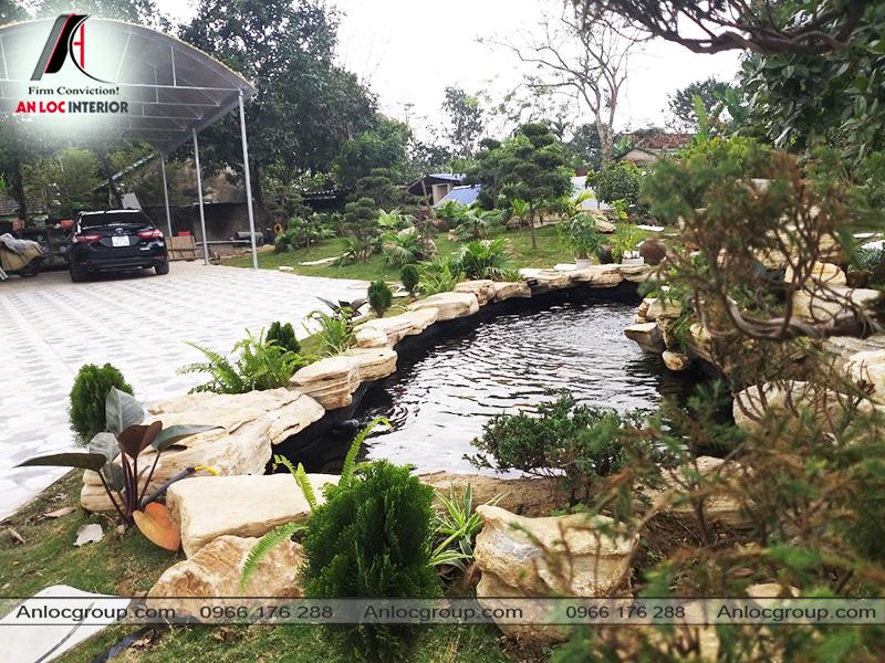 Hình ảnh thực tế sân vườn biệt thự tại Thái Nguyên