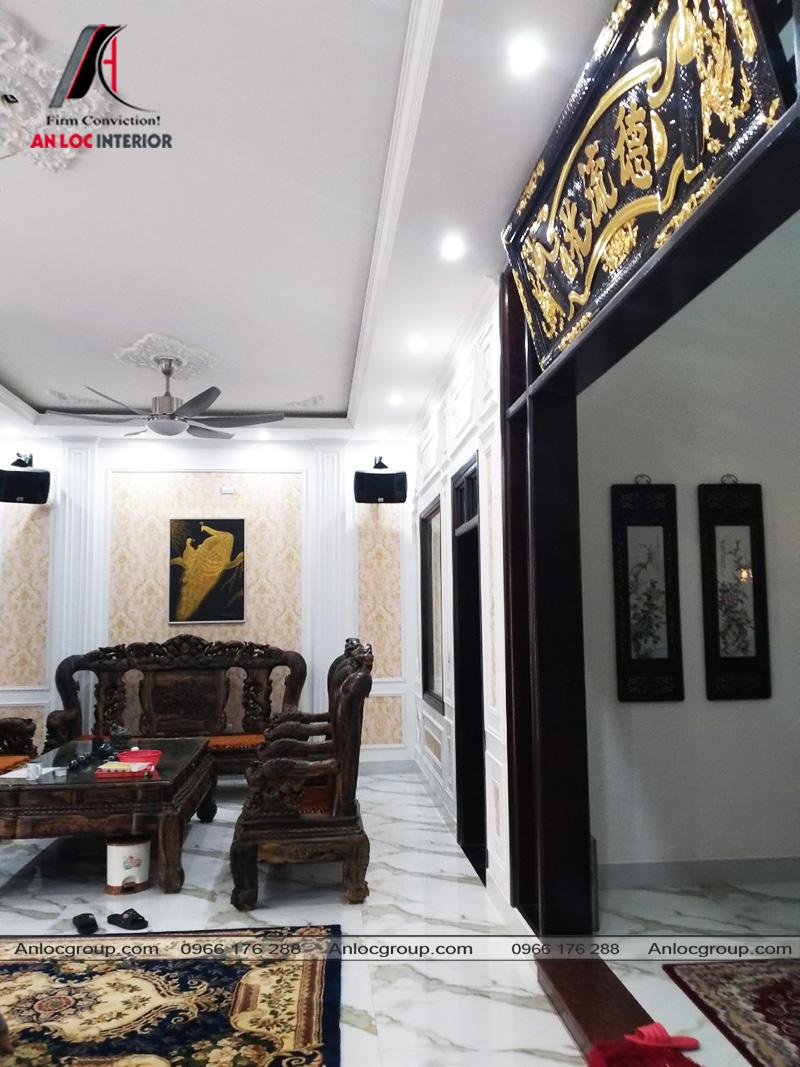 Thi công nội thất phòng khách biệt thự tại Thái Nguyên