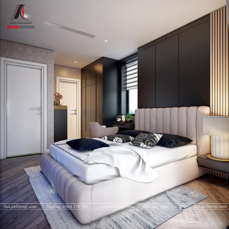 Màu sắc trong phòng ngủ được kết hợp tinh tế mang đến không gian nghỉ ngơi thư giãn nhưng không kém phần sang trọng