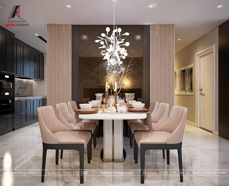 Khu vực bàn ăn chung cư được trang trí ấn tượng