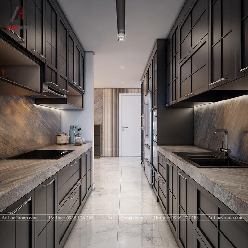 Thiết kế tủ bếp âm tường đặt song song nhau