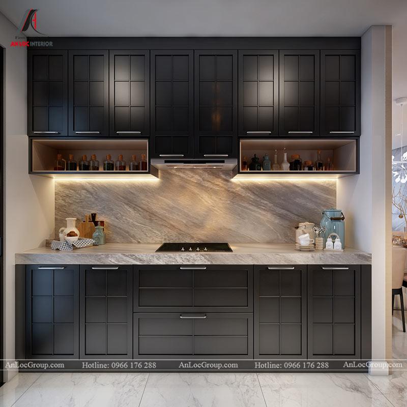 Tủ bếp màu đen gọn gàng, tiện nghi