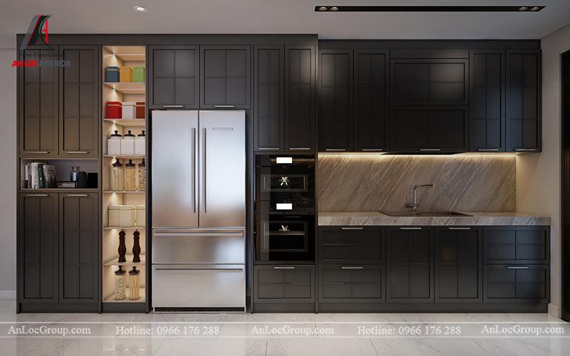Đồ nội thất hiện đại được tích hợp khéo léo trong tủ bếp