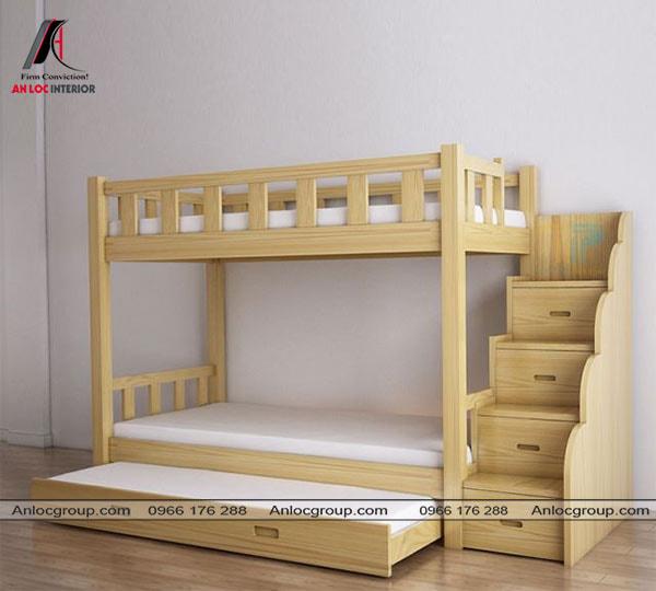 Mẫu 24 - Giường 3 tầng bằng gỗ cho trẻ em
