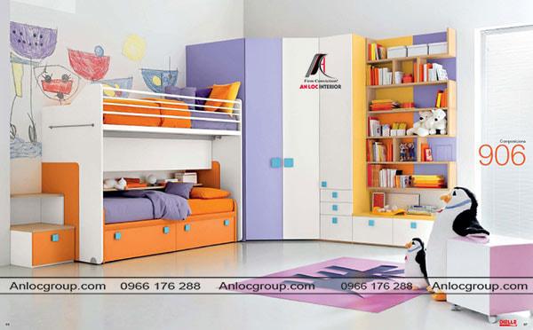 Mẫu 33 - Phòng ngủ trẻ em gọn gàng, tinh tế với giường tầng