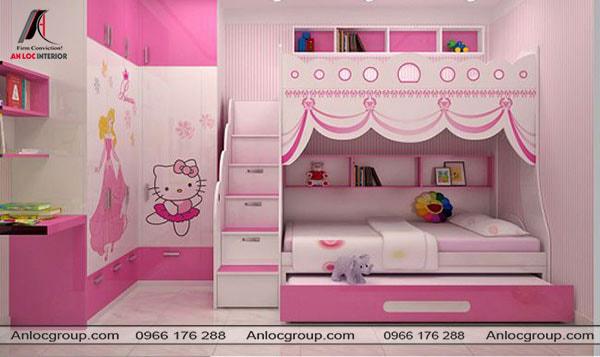 Mẫu 26 - Giường ngủ 3 tầng cho bé gái