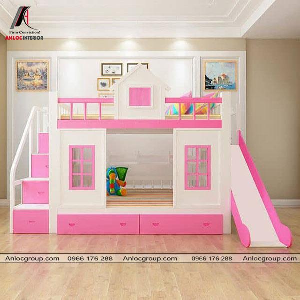 Mẫu 47 - Giường tầng có cầu trượt màu hồng cho bé gái