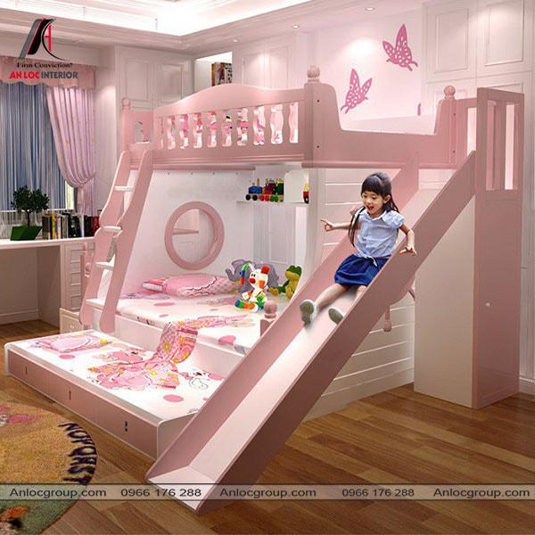 Mẫu 49 - Giường tầng kết hợp với không gian vui chơi trong phòng của bé