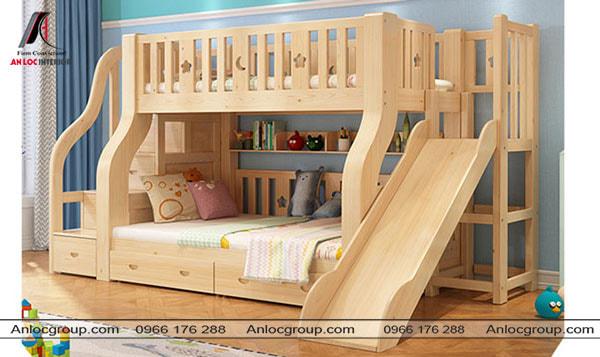 Mẫu 52 - Giường đôi trẻ em có cầu trượt từ gỗ tự nhiên