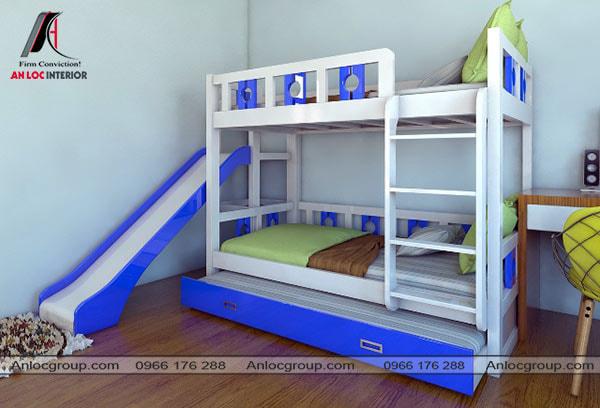 Mẫu 56 - Thiết kế giường 3 tầng đơn giản màu xanh dương và trắng