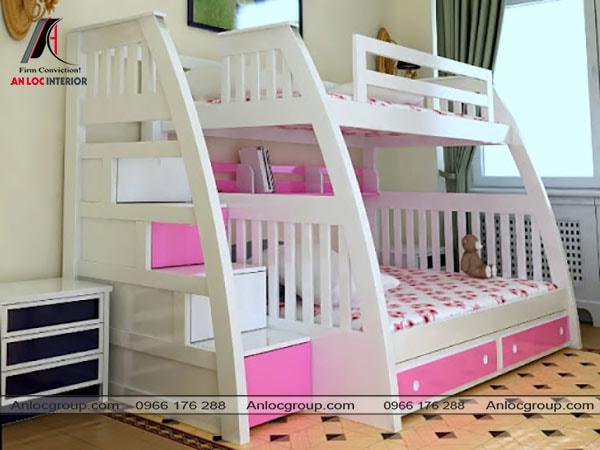 Mẫu 1 - Giường tầng cho bé gái màu trắng và hồng