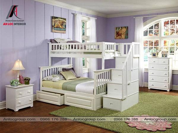 Mẫu 11 - Giường màu trắng kết hợp hài hòa với tone màu xanh của căn phòng
