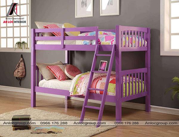 Mẫu 4 - Thiết kế giường tầng đơn giản màu tím