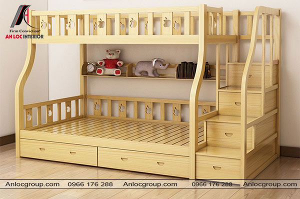 Mẫu 5 - Giường tầng bằng gỗ màu vàng nhạt