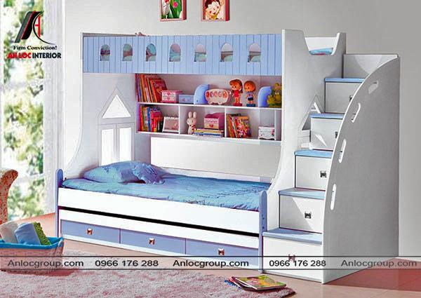 Mẫu 22 - Giường tầng trẻ em từ gỗ công nghiệp