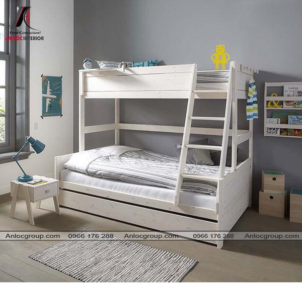 Mẫu 14 - Giường gỗ có thiết kế giật cấp