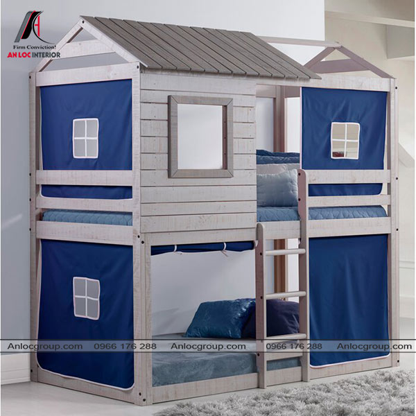 Mẫu 15 - Giường đôi cho bé tạo hình ngôi nhà độc đáo