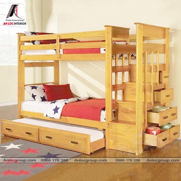 Mẫu 16 - Giường tầng đa năng từ gỗ tự nhiên