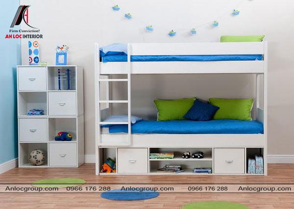 Mẫu 17 - Giường tầng khung màu trắng kết hợp cùng màu xanh trên ga trải giường và gối