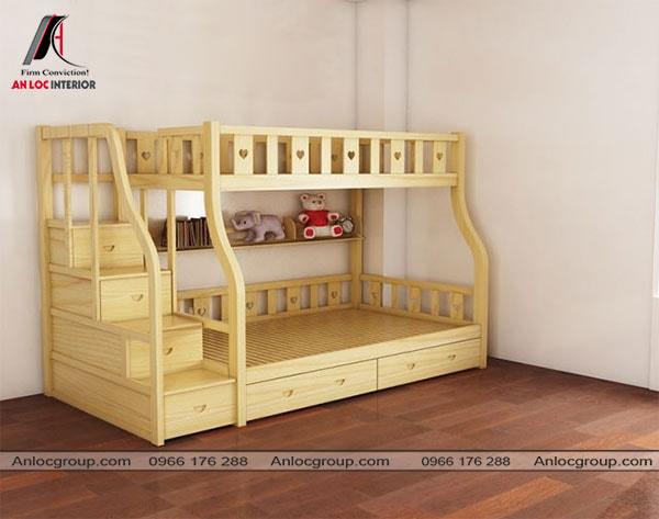 Mẫu 20 - Giường tầng đa năng cho bé từ gỗ màu vàng