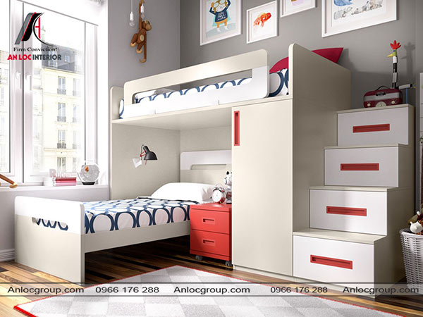 Mẫu 58 - Tủ quần áo đặt bên dưới giường ngủ