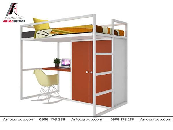 Mẫu 59 - Giường tầng từ kim loại giá rẻ có bàn học và tủ quần áo bên dưới