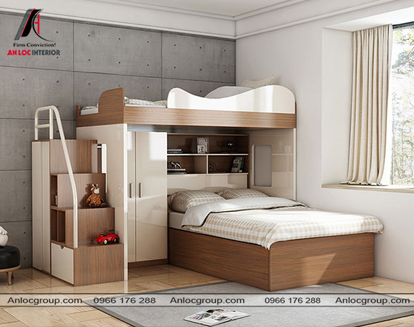Mẫu 60 - Giường ngủ bên dưới được xoay 90 độ nhường chỗ cho một tủ quần áo nhỏ