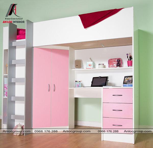 Mẫu 63 - Giường cho trẻ em với tủ quần áo màu hồng và bàn học bên dưới