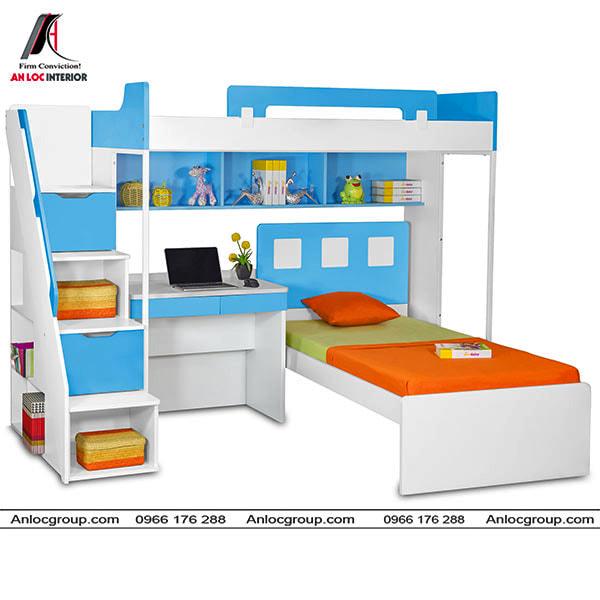 Mẫu 44 - Giường 2 tầng kết hợp với bàn học nhỏ