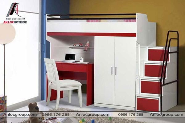 Mẫu 45 - Nội thất thông minh kết hợp màu sắc hài hòa trong phòng ngủ trẻ em