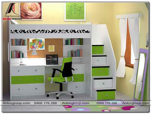 Mẫu 46 - Giường tầng có bàn học màu xanh lá cây cho bé