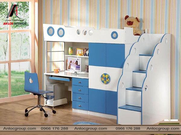 Mẫu 35 - Bên dưới giường ngủ là bàn học và tủ quần áo