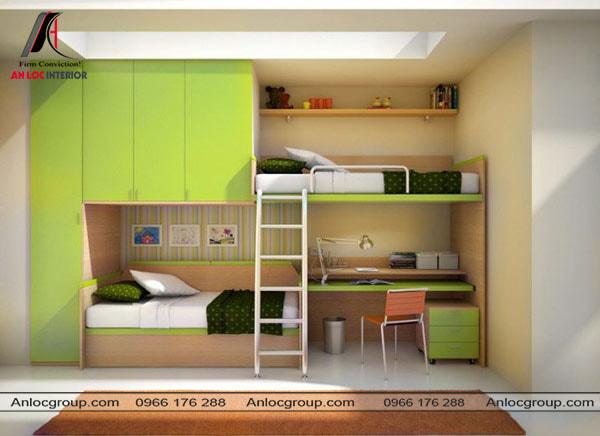 Mẫu 38 - Giường 2 tầng âm tường có bàn học và tủ quần áo thông minh