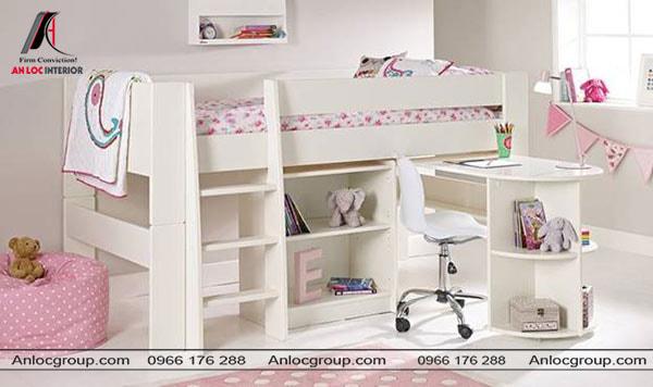 Mẫu 39 - Giường tầng thấp với bàn học thông minh cho bé gái