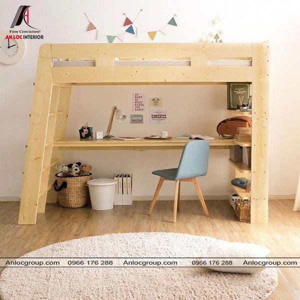 Mẫu 41 - Giường tầng cho bé có bàn học từ gỗ màu vàng